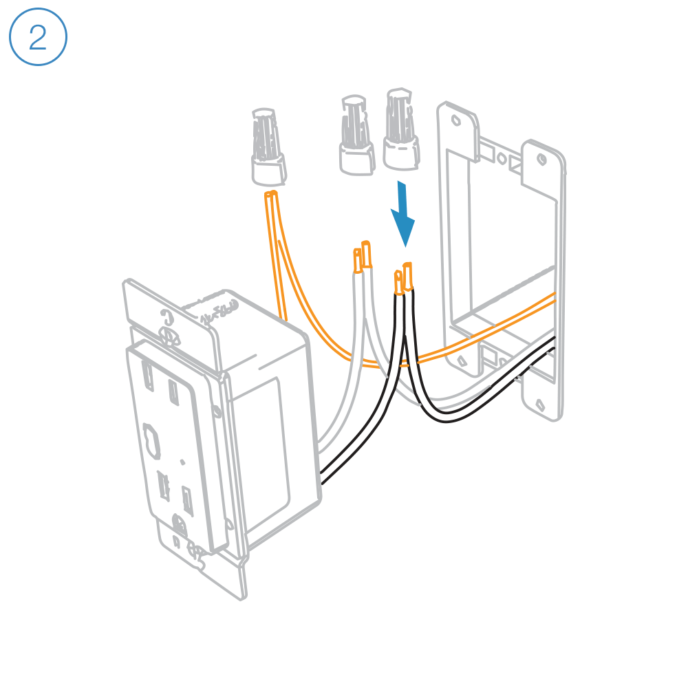 medium resolution of connect the corresponding wires from the junction box to the insteon wall outlet and cap them with wire nuts