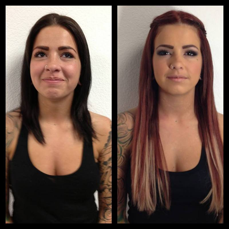 makeover hair color makeup and extensions