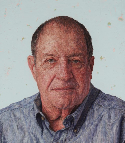 Hand Embroidery Thread Painted Portrait Uncle Angelo by Cayce Zavaglia Artwork About Face
