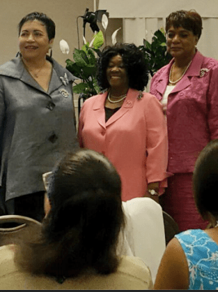 Past Presidents of the IAMWMW  l-r  Dr. Shirley Hart, Dr. Celeste Ashe Johnson & Dr. Janie Holmes