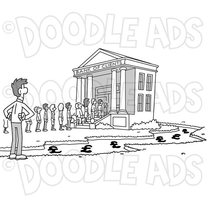 BankClientsIncomeStreamBuildingQueuePeople — Doodle Ads SVGs