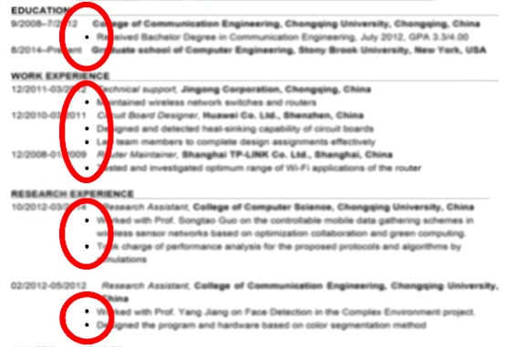 resume bullet points for internship