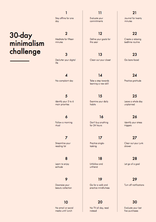 30-day minimalism challenge (Into Mind)