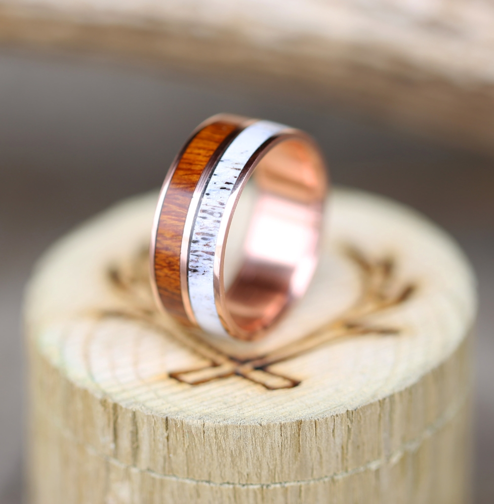 14k Rose Gold Wedding Band With Wood Amp Antler Available In 14k Rose Yellow Or White Gold