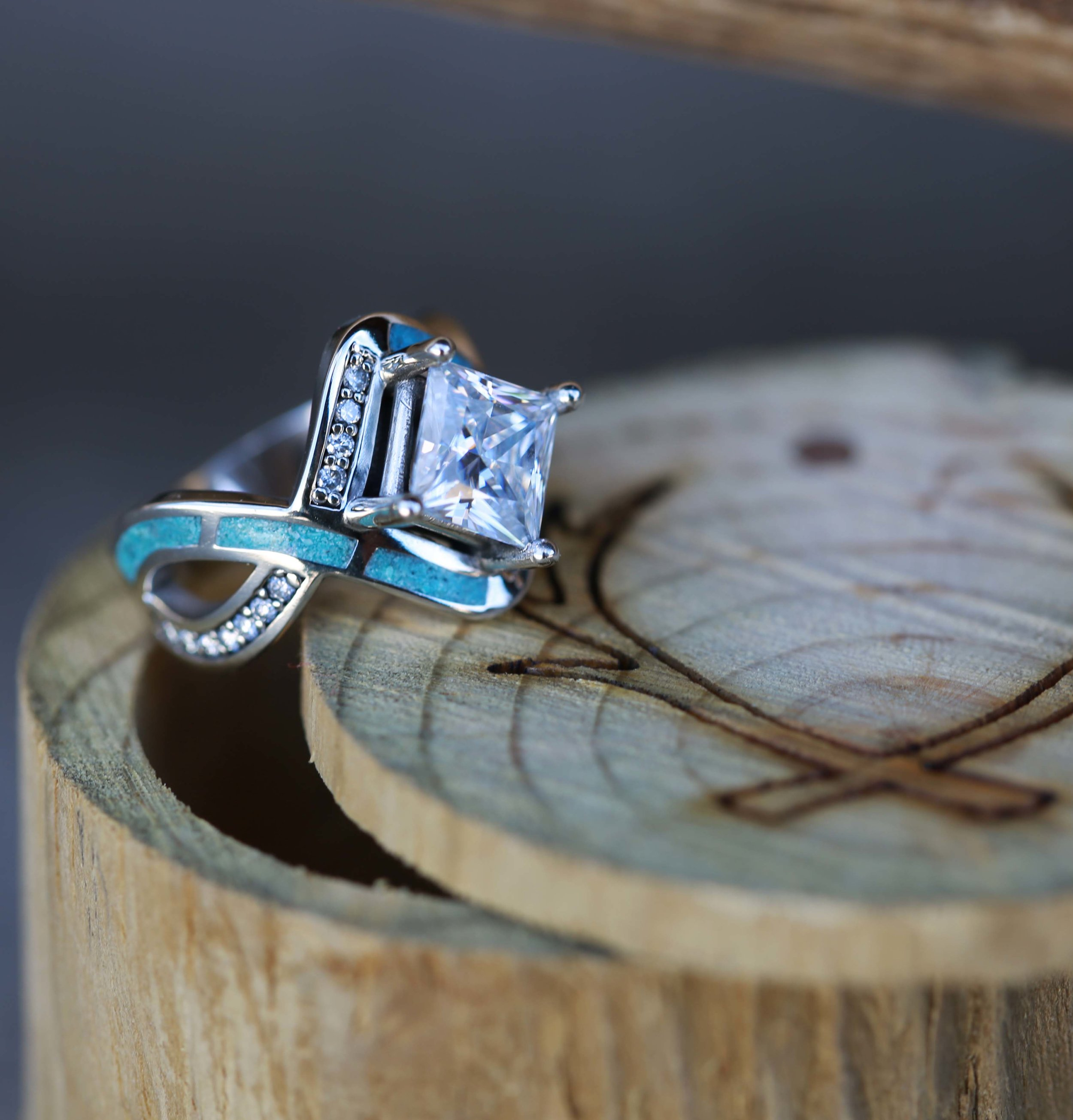 1CT Moissanite Engagement Ring W Turquoise Inlay