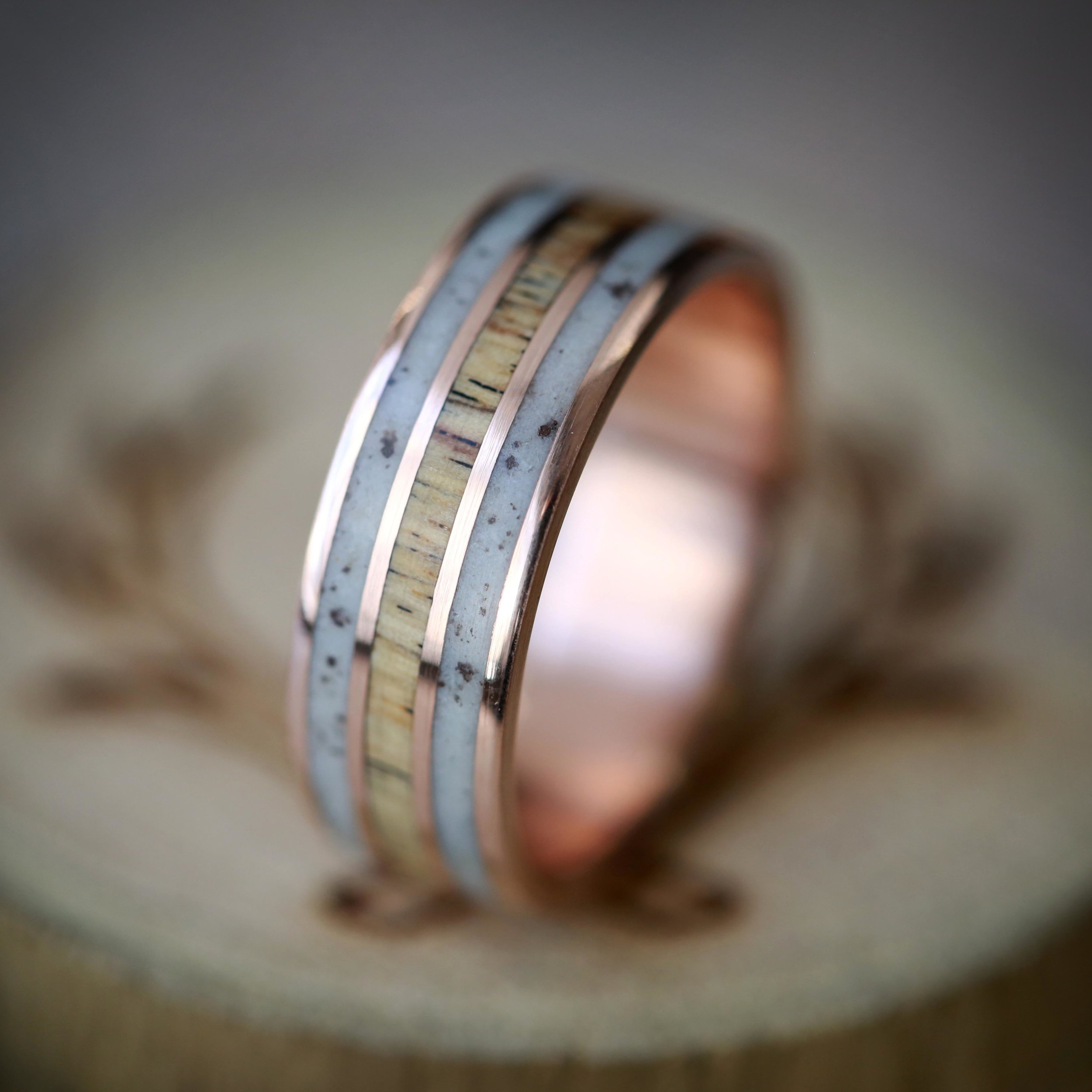 Quot Rio Quot In Elk Antler Amp Spalted Maple Hand Set On 14k Gold Wedding Band Available In 14k Rose