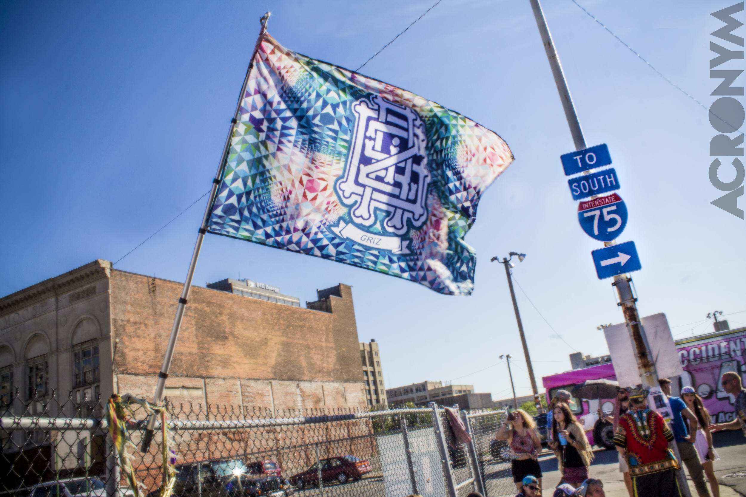 Line at GRiZ, accompanied by a legitimate flag! Photo: Acronym Creative Studio