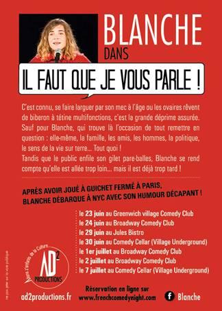 Il Faut Que Je Vous Parle : parle, Dekatur, French, Stand-up, Comedienne, Blanche, Gardin, DEKATUR