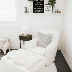Chairs For Baby Room Glider Rocker Chair Diy Nursery With Comfort Works Slip Cover Me And Mr Jones Neutral Black White Boy Covered S