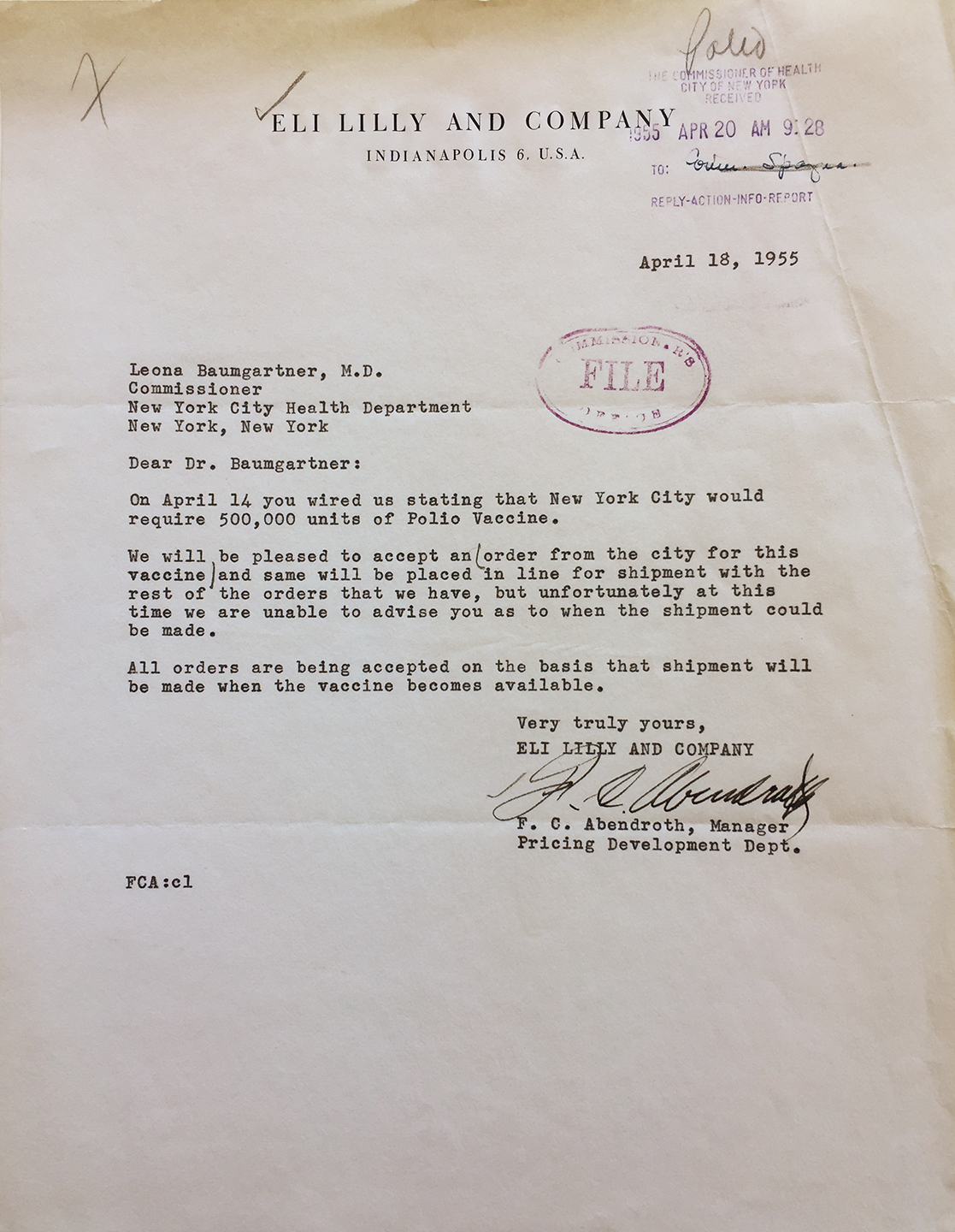 Letter From Pharmaceutical Manufacturer Eli Lilly Confirming Commissioner  Baumgartner's Order For 500,000 Units Of The Polio