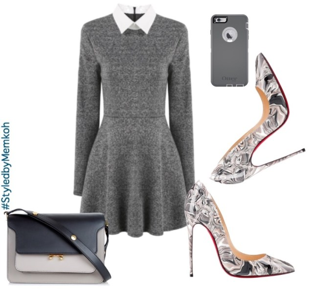 Turtleneck Dress: Maison Margiela (via The Outnet) \ Sleeveless Blazer: Miss Selfridge \ Shoes: Christian Louboutin \ Bag: Avenue21 \ Necklace: Yoins