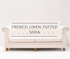 french linen tufted sofa leather corner black and white chair hire little gray station wedding styling jpg