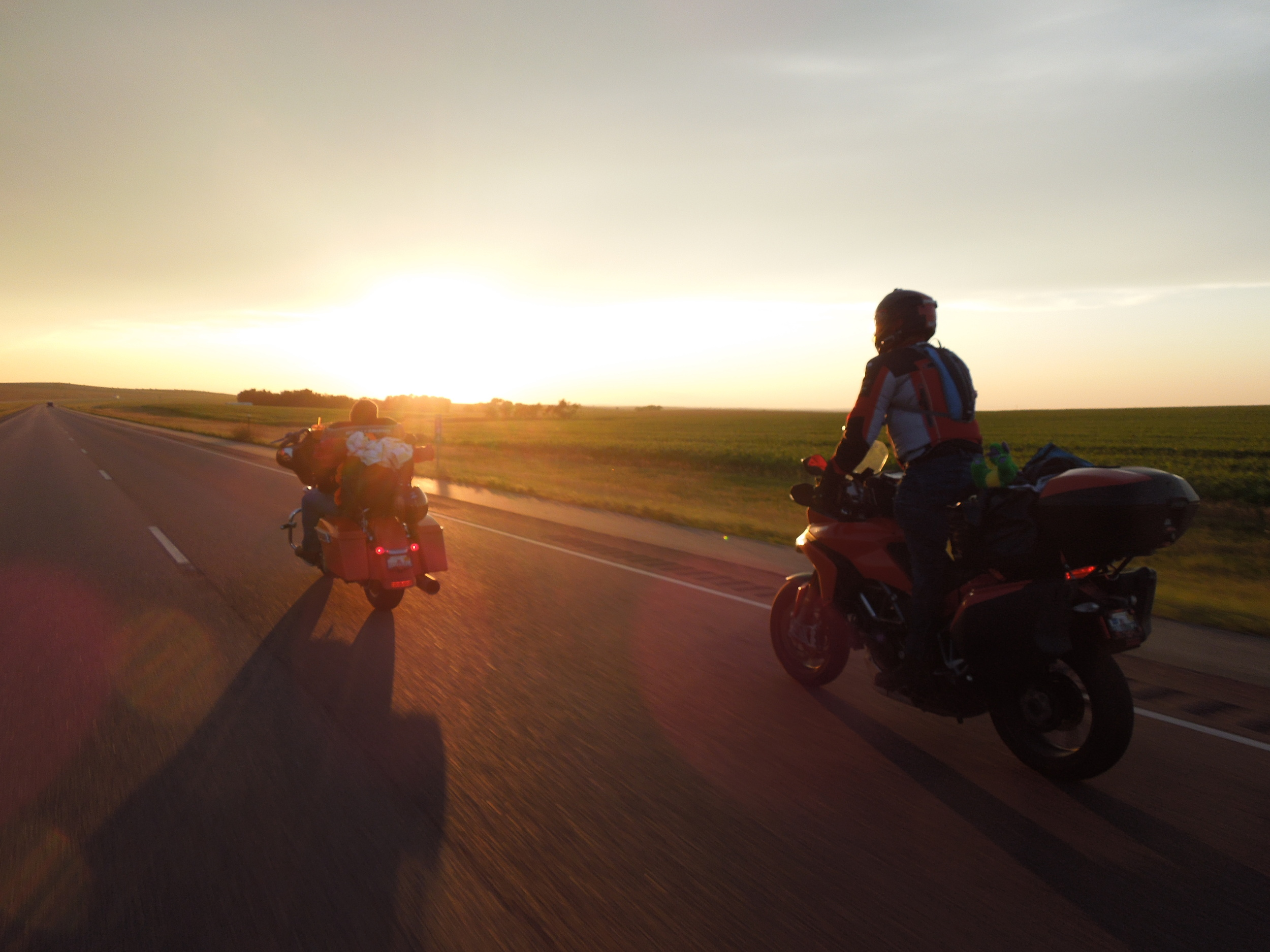 Heading into the sunset, west-bound on I-90 in South Dakota, to Sturgis for the Black Hills Bike Rally.
