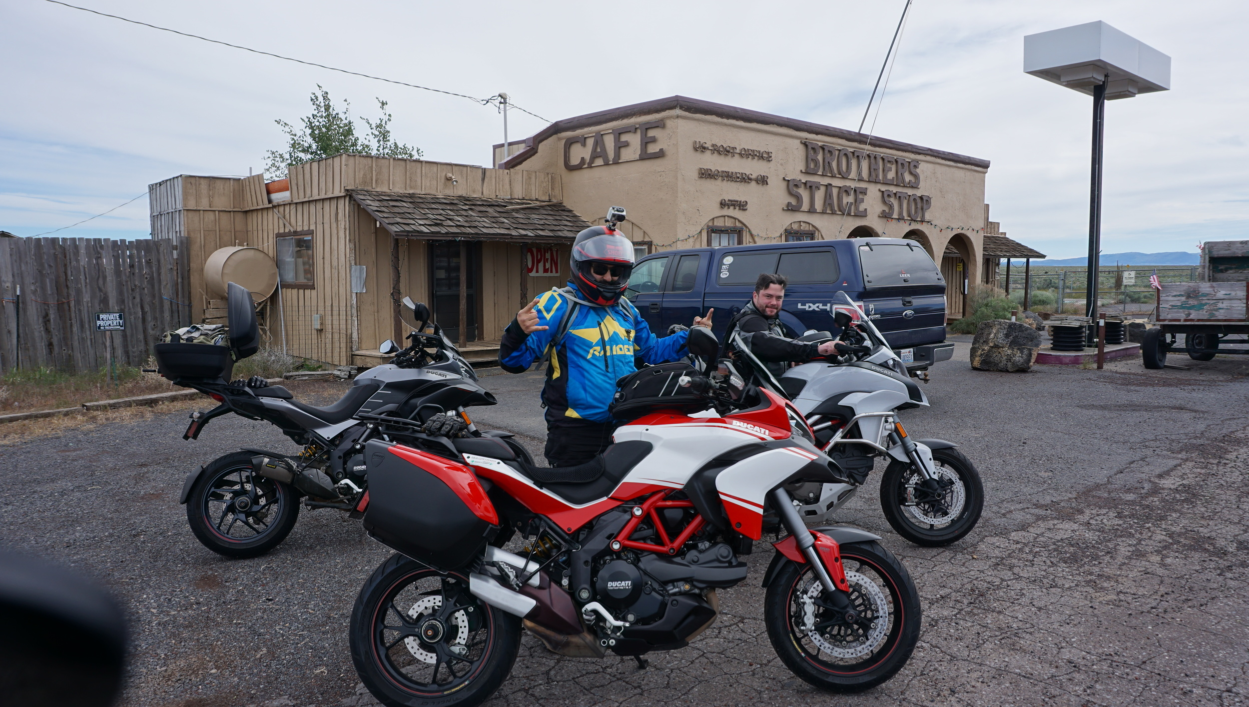 The three steeds, all Ducatis, from left to right: 2013 Multistrada 1200GT, 2013 Multistrada 1200 Pike's Peak and 2015 Multistrada 1200 ST