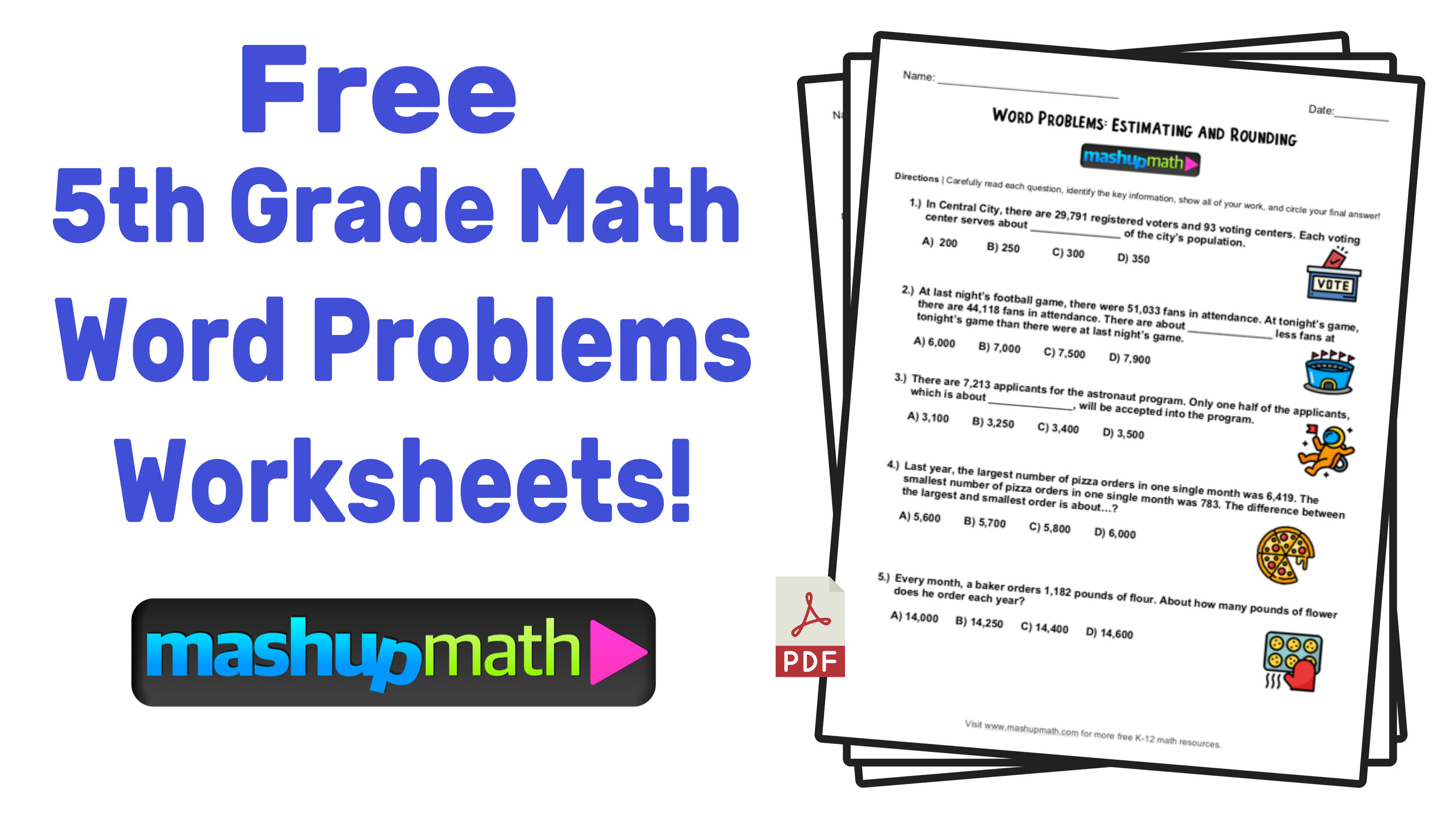small resolution of 5th Grade Math Word Problems: Free Worksheets with Answers — Mashup Math