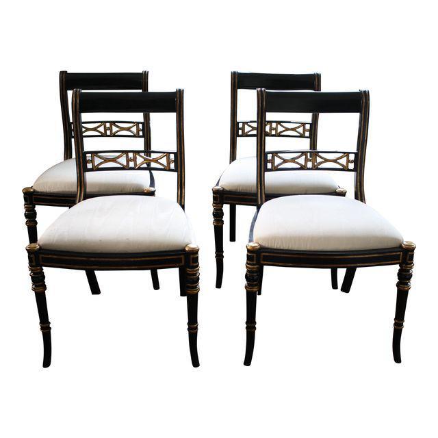 maitland smith dining chairs rocking chair cushions outdoor gilt ebony klismos set of 4 jpg