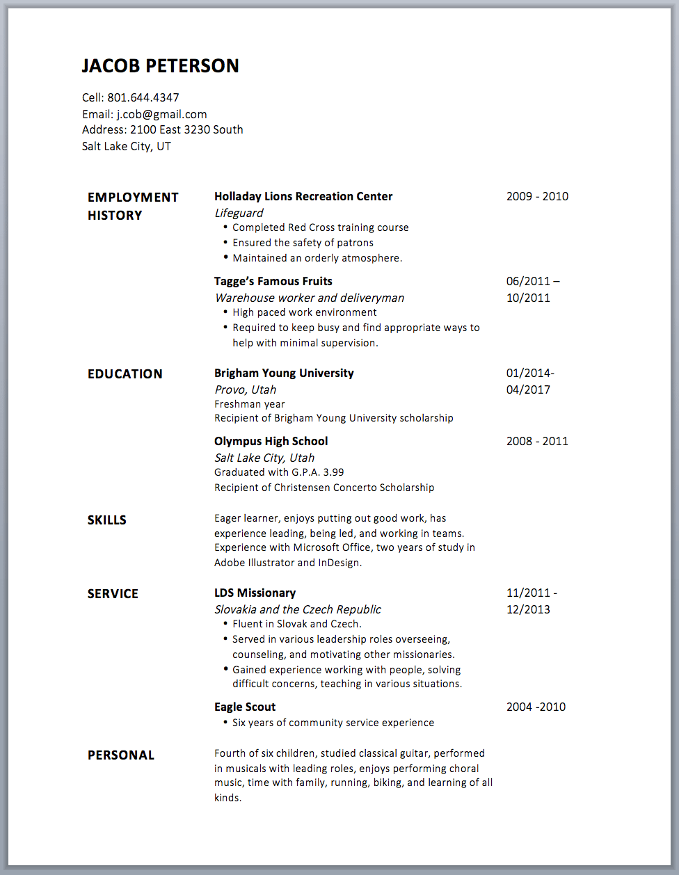 resume without bullet points