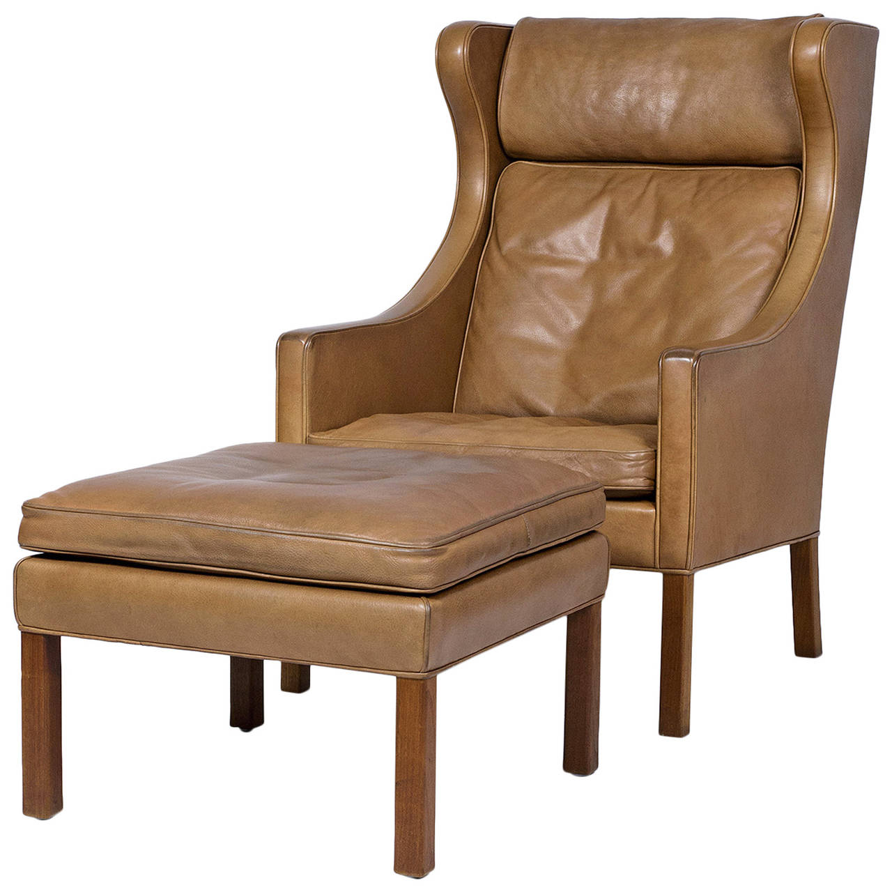 leather wingback chairs chair cover hire aldershot borge mogensen and stool denmark 50 2886162 l jpeg