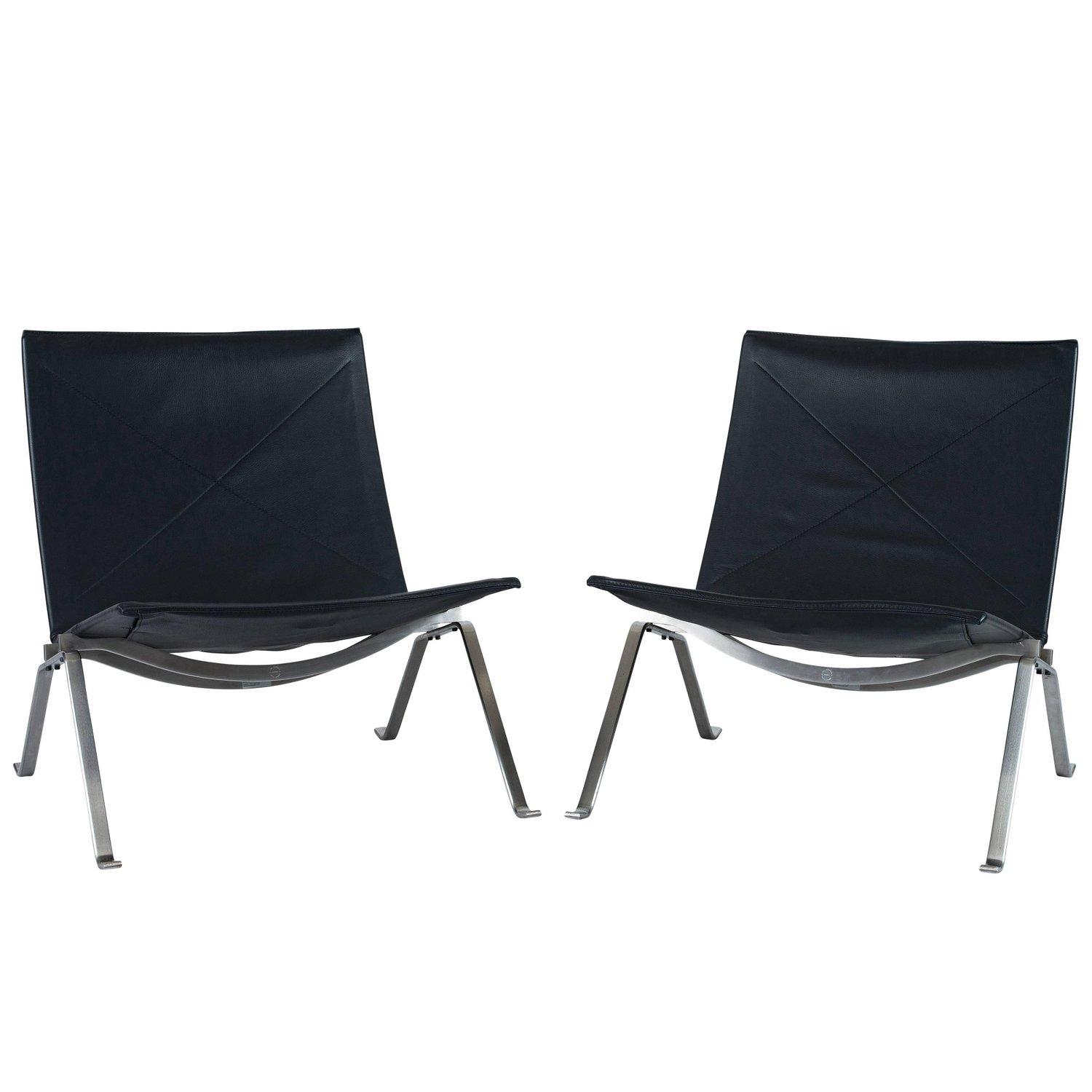 Fritz Hansen Chairs Pair Of Poul Kjaerholm Pk 22 Lounge Chairs By Fritz Hansen