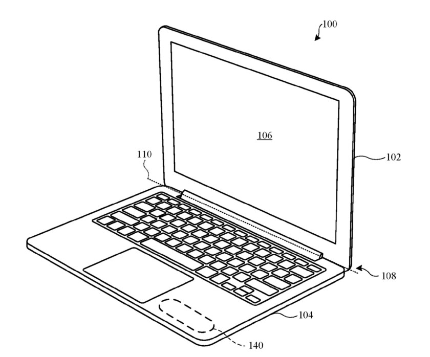 Laptop+patent Apple invention would involve opening a Mac laptop via touch rather than a physical button Apple