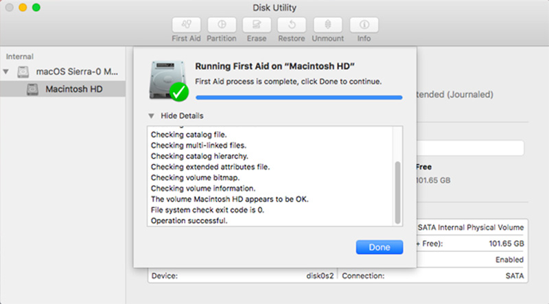 First Aid, part of the Disk Utility app, can be used to check for drive errors and issues.