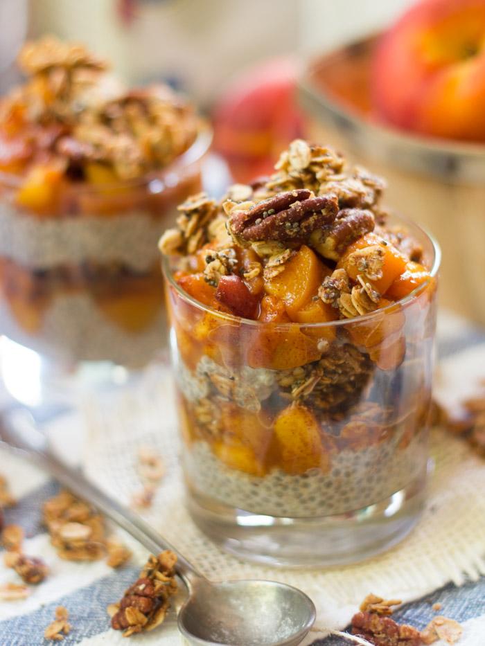 Peach Crisp Chia Pudding Parfaits via Connoisseurus Veg