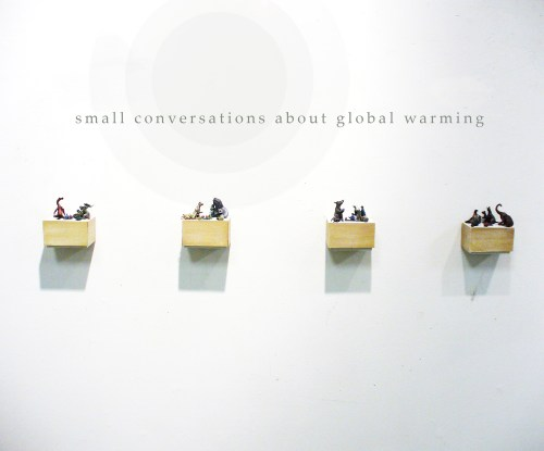 small resolution of small conversations about global warming miniature mixed media sculpture the new space gallery