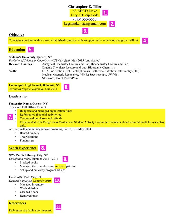 resume objectives for recent college graduates