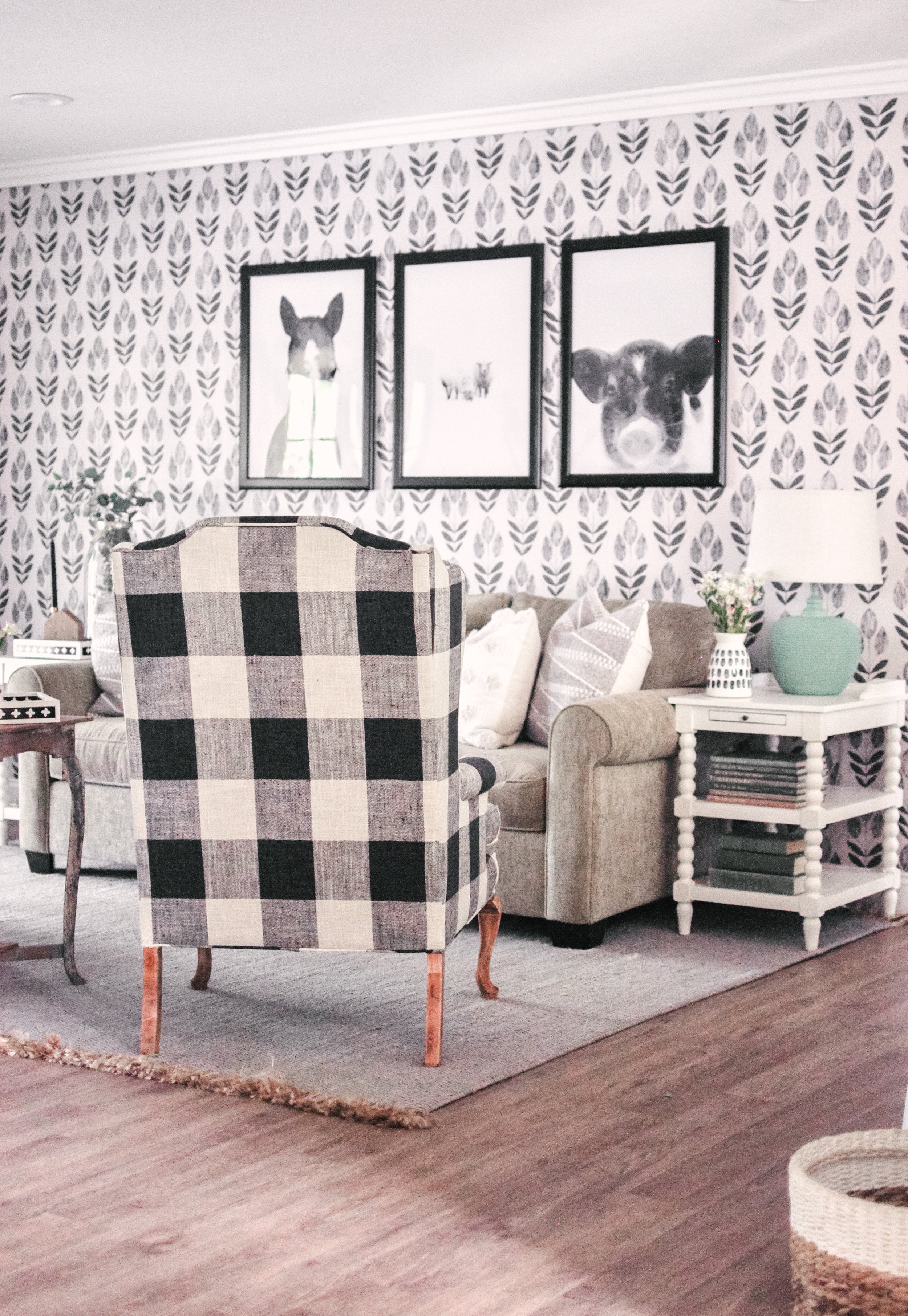 diy reupholster living room chair carpet colors for our farmhouse makeover + buffalo check ...