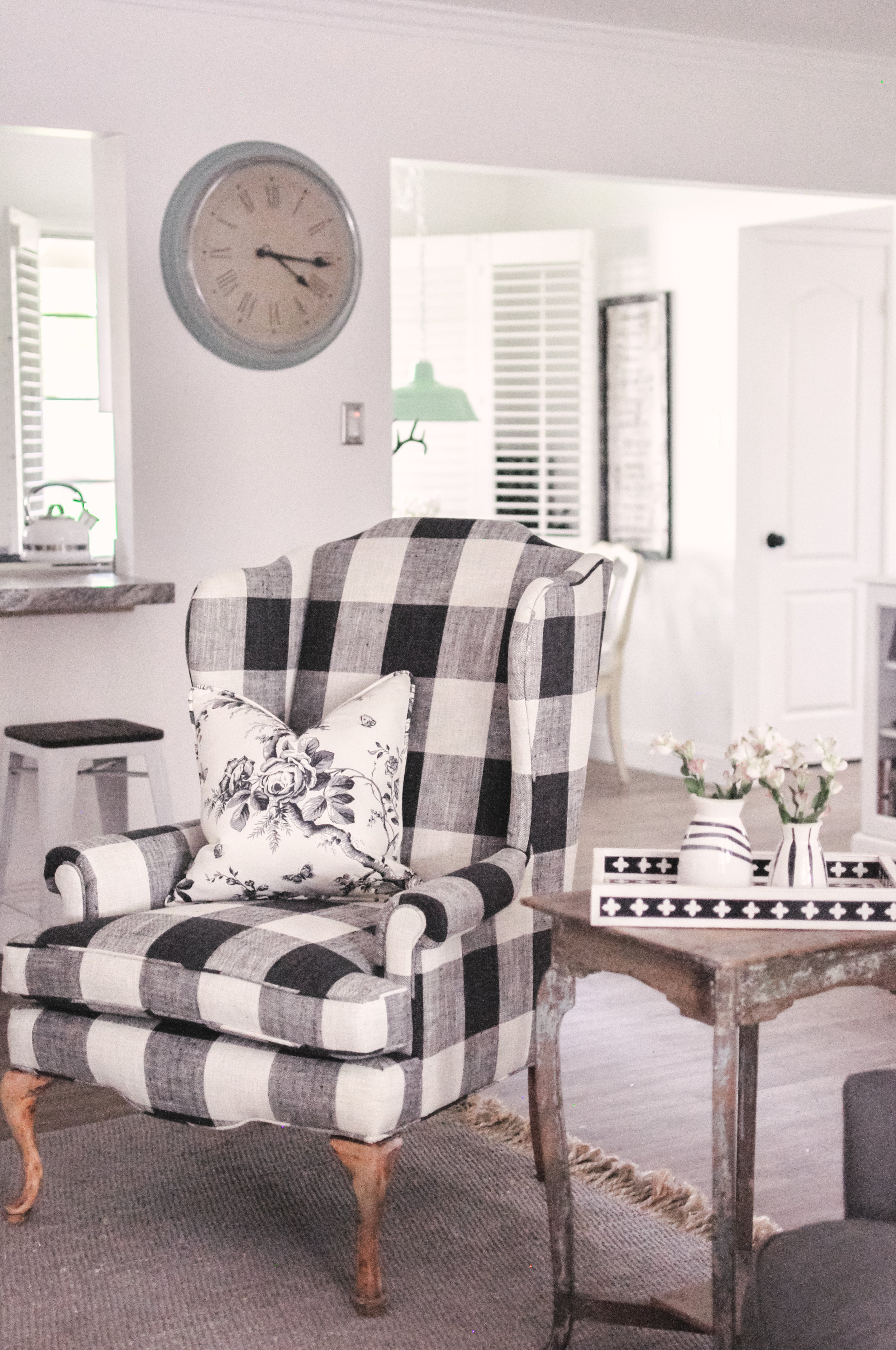 farmhouse living room chairs elephant decor for our makeover buffalo check chair love black and white