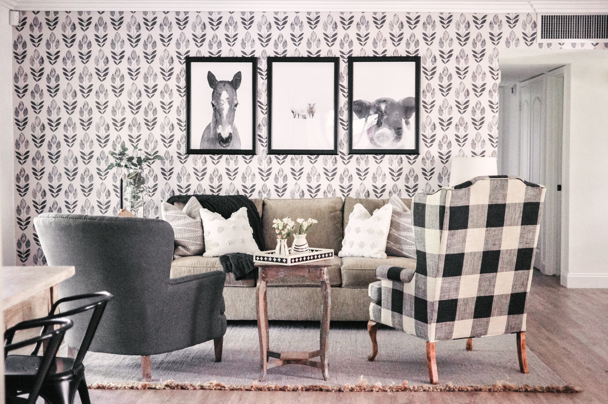 farmhouse living room chairs classic rooms our makeover buffalo check chair love nov 8