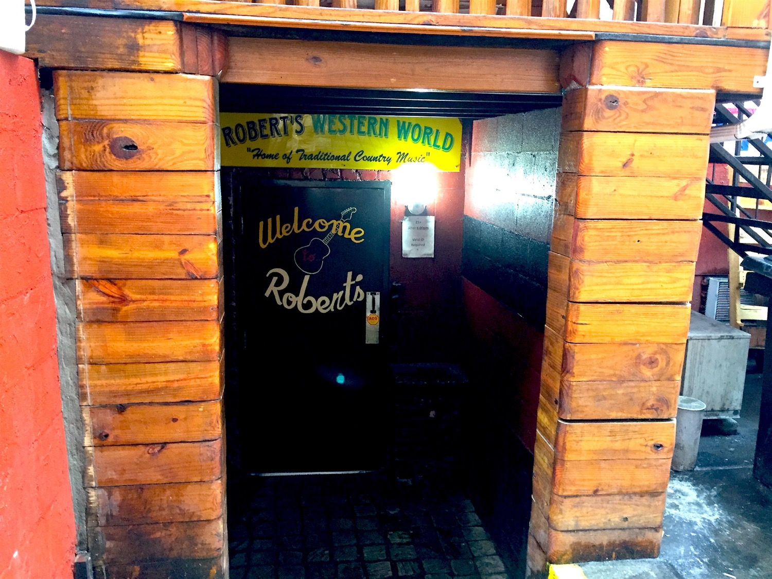 The back door to Robert's Western World is directly across from the stage door to the Ryman.