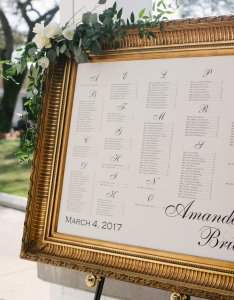 The seating chart in an ornate gold frame adorned with more napa inspired greenery also amanda and brian  chic country club wedding palma ceia rh winsoreventstudio