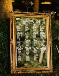 seating chart was created with stunning gold ornately framed mirror also alyssa and mj blush garnet garden wedding  winsor rh winsoreventstudio