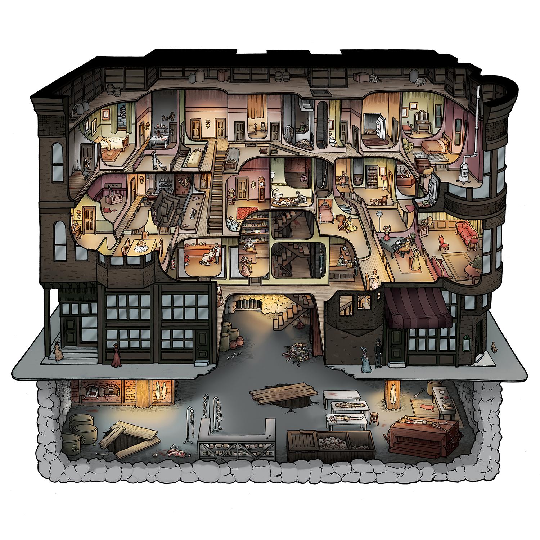 Holmes Murder Castle Prints Carden Illustration