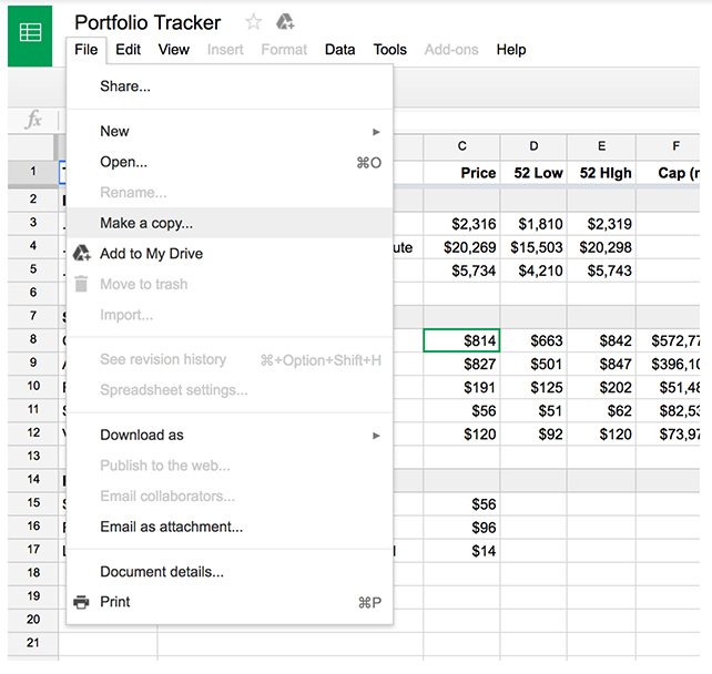 Using Google Sheets to Track Your Investment Portfolio
