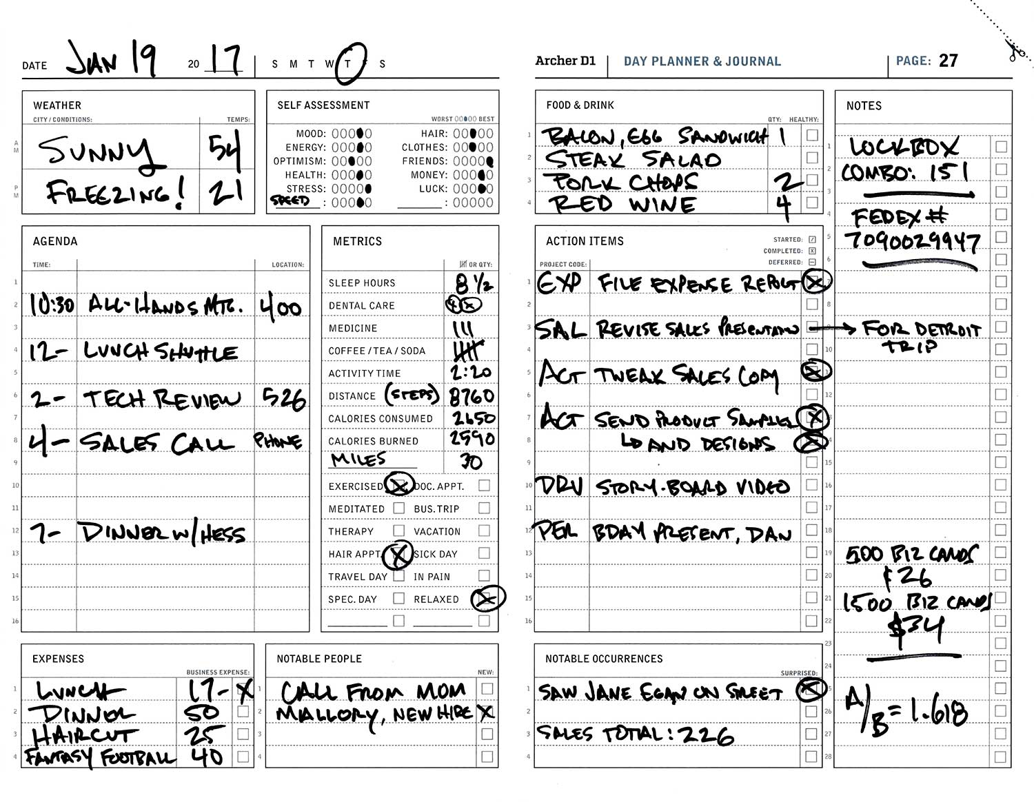 Archer D1 Day Planner — The Active System Co.