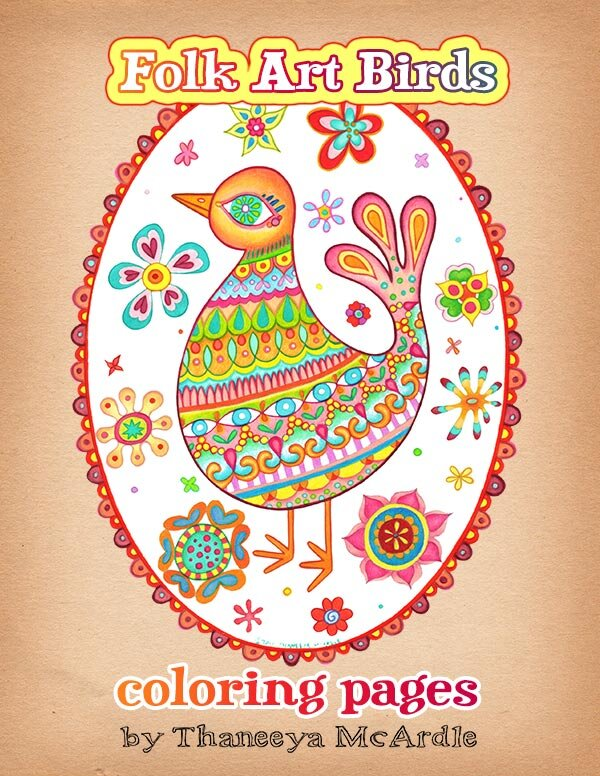 Folk Art Coloring Books : coloring, books, Birds, Coloring, Pages, Printable, Detailed, Drawn, Style