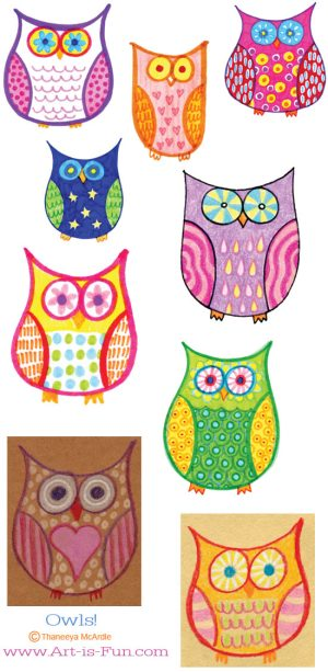 owl draw colorful drawing easy owls fun drawings colourful patterns step examples cartoon lesson simple doodle colored steps thaneeya drawn