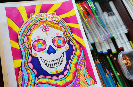 Day Of The Dead Coloring Book Adult Coloring Book By