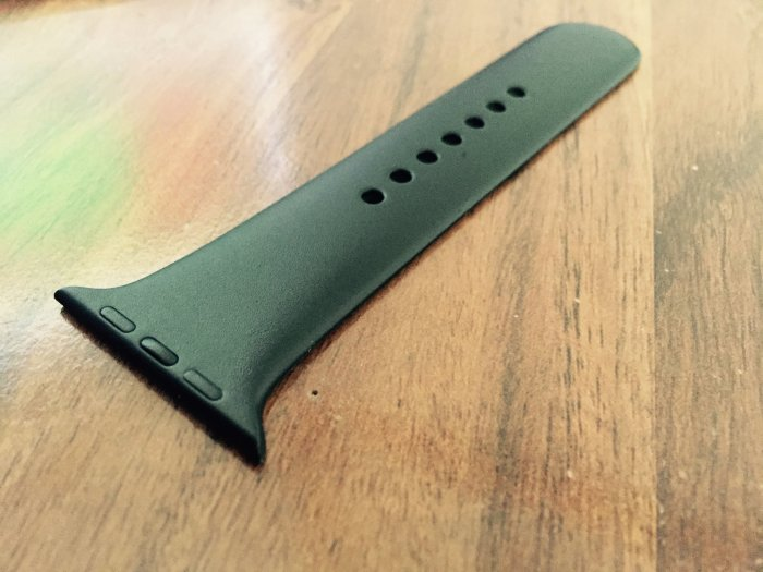 A black Apple Watch Sport strap (which was green 20 minutes ago)