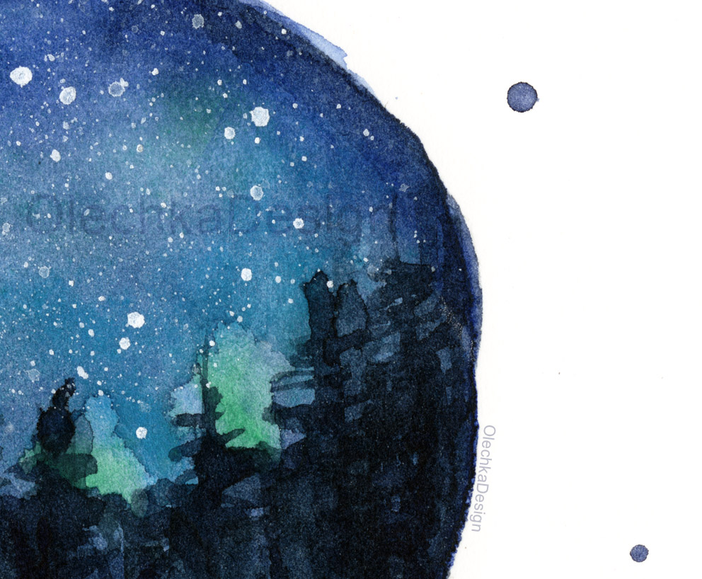 Watercolor Galaxy Painting