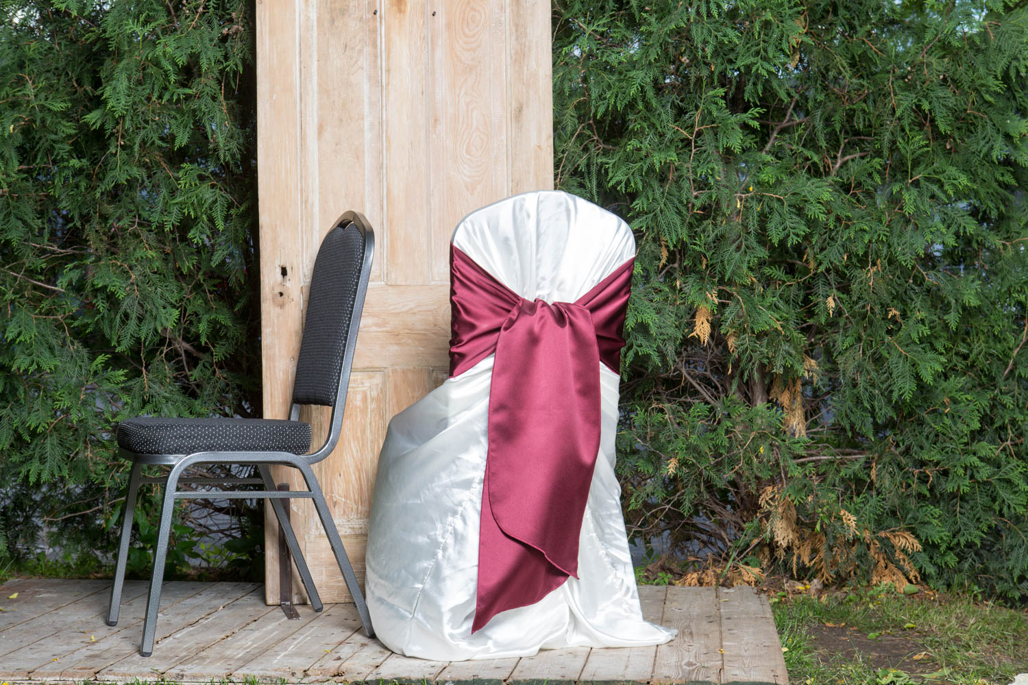 couture chair covers and events massage cushion satin cover with sash 6 white black or ivory