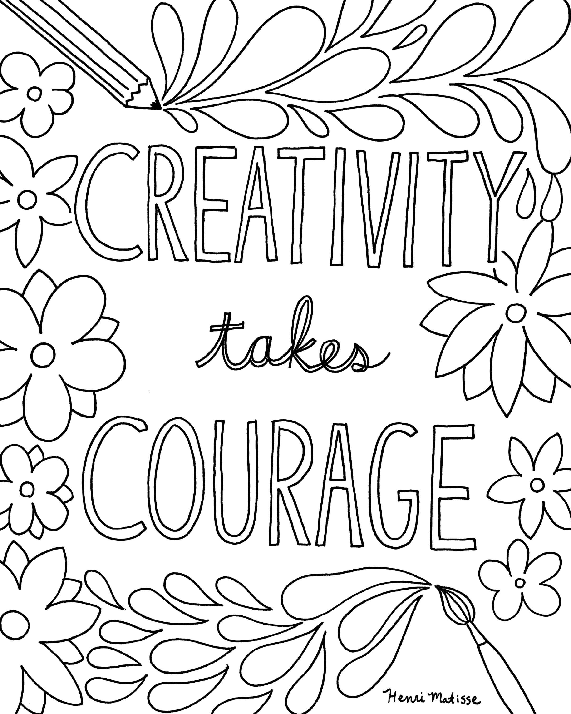 Coloring Book Page Download: Creativity Takes Courage