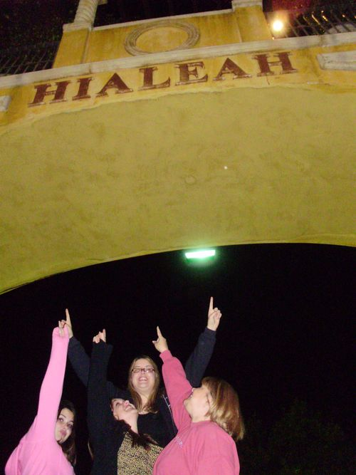 pointing to Hialeah sign