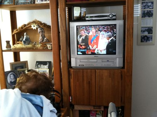Luza watching Royal Wedding on tv