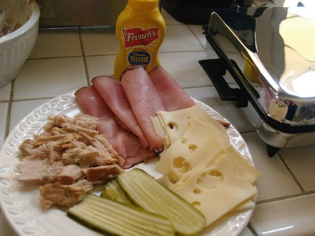 Ingredients for Cuban sandwich