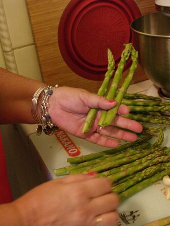 Snap ends off asparagus