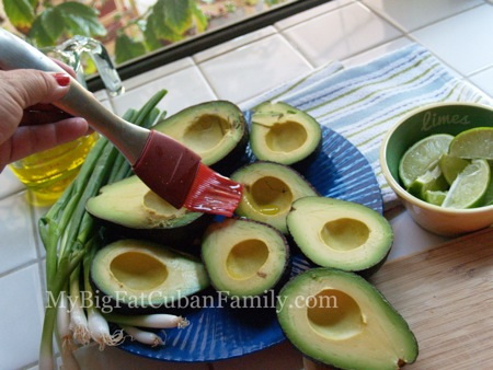 Brush avocado with oil
