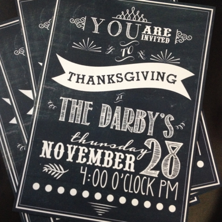 Darby Thanksgiving invitations 2013